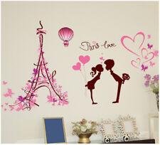 Wandtattoo Paris Liebe Frau Mann Herz Aufkleber Kind rosa pink Schmetterling
