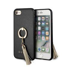 Carcasa Rígida Saffiano con anillo soporte negro para Apple iPhone 8/7 Guess