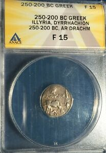 Greece/Illyria AR Drachm 250-200 B.C. == ANACS F-15 == Cow/Calf -- Head of Isis!