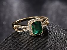 Women Baguette Green Emerald Rhinestone Crystal Eternity Wedding Halo Ring