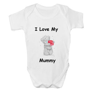 Tatty I Love My Mummy Daddy Auntie Uncle Baby Vest Cute Gift Funny Bodysuit Grow