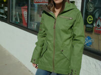 B by Burton Foley Jacket Womens Snowboard Ski Waterproof Olive Green XS