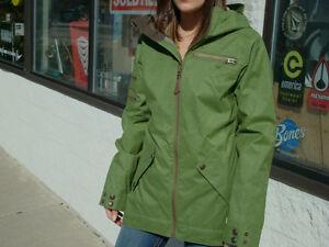 B by Burton Foley Jacket Womens Snowboard Ski Waterproof Olive Green XS