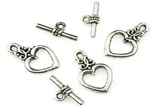 10 SETS OF ANTIQUE SILVER PLATED HEART TOGGLE CLASPS