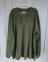 Duluth Trading Co Burly Mens 3X Thermal Henley Shirt Long Sleeve Green Waffle