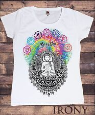 Blanc Femmes T-Shirt Bandelette Buddha Chakra Symboles coloré Modèle TS294
