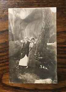 RPPC 1907 era Gay Interest~Women Hugging~Arm Over Shoulder near large Shade Tree