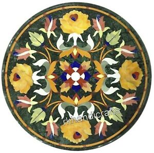 16 Inches Marble Patio Table Top Beautiful Floral Pattern Inlay Coffee Table Top
