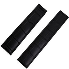 20mm Black Leather Watch Strap Band Compatible With Tag Heuer Deployment Clasp