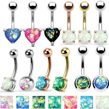 14G Solitaire Opal Belly Button Navel Ring Surgical Steel Barbell Stud Piercing