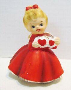 VALENTINES DAY ANGEL VINTAGE CERAMIC FIGURINE RED DRESS FEBRUARY BIRTHDAY