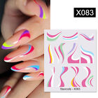 Nail Art Water Decals Summer Transfer Stickers Colorful Leave Flower Design Tips