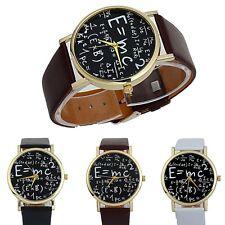 Womens Luxury Watch Bracelet Math Symbols Leather Band Analog Quartz Wrist Watch