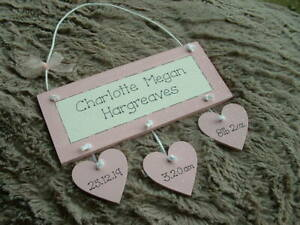 PERSONALISED BABY GIRL BIRTH KEEPSAKE PLAQUE WITH HANGING HEARTS