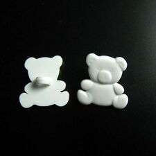 20 Teddy Bear Novelty Animal Kid Scrapbooking Sewing Buttons 17mm White K110