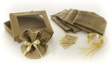 Gift Box 5 Rustic Jute Burlap Bags Golden Ribbons Paper Cards for Personal Gifts