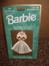 Vintage Hallmark Christmas Barbie Pin NIP 1995 Holiday Doll MINT Lapel Outfit