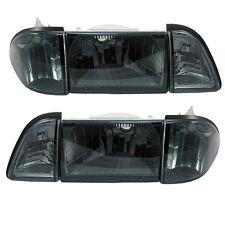 1987-1993 Mustang Euro Smoke 6 piece Headlights w/ Amber Side Markers - SAE/DOT