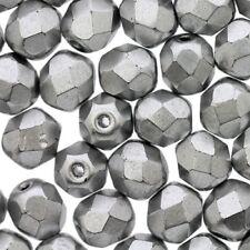 50 Perles Facettes cristal de boheme 4mm - ARGENTEES SILVER ALU MAT