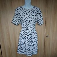 Boohoo Womens White Black Floral Fit&Flare Dress Size 14