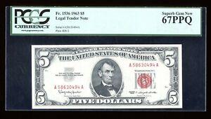 DBR 1963 $5 Legal Superb Gem Fr. 1536 PCGS 67 PPQ Serial A58630494A
