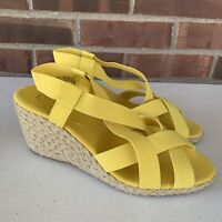 New Chaps yellow Elastic strap espadrille wedge sandals Women's Size US 10 M