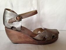 Calleen Cordero silver crackle leather studded wedge sandals 11 10 wood sole