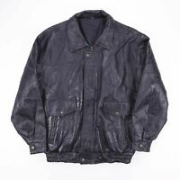 Vintage Black Leather Textured Biker Jacket Size Mens Large