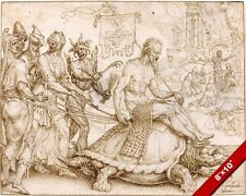 THE TRIUMPH OF JOB 1500'S INK & CHALK PAINTING BIBLE ART REAL CANVAS PRINT