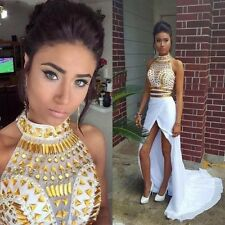 Two Piece White and Gold Rhinestones Prom Dresses Mermaid Side Slit Evening Gown