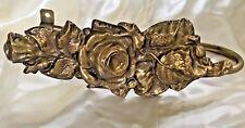 Vintage Drapery Curtain Tie Back Holder Rose Embossed Brass Metal