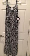 Women's Ava & Viv Sleeveless Long Dress,Sz1X, (16-18) NWT, Black/Tan Print