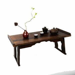 Wood Antique Tea Table Foldable Tatami Traditional Asian Furniture Living Room