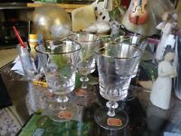Set of 4 Gorham FINE Crystal Goblets - Water~Wine Glass with HTF  Platinum Rim