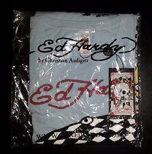 Ed Hardy Christian Audigier T-Shirt NWT XXXXL Lt Blue Bulldog Design s3079