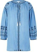 Monsoon Kit Beach Kaftan Blue Embroidered Size Large Bnwt