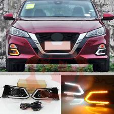 For Nissan Altima 2019-2020 LED Daytime Running Light Fog Light DRL White+Yellow