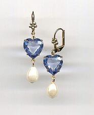 BABY BLUE TOPAZ HEART cut-crystal PEARL Teardrop EARRINGS 14K Gold gp *Vtg Czech