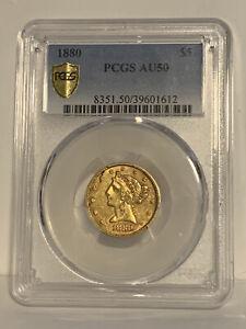 1880 $5 AU 50 PCGS Certified Liberty Head Design Half Eagle