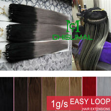 """Easy Loop Micro Ring Bead Ombré Remy Real Human Hair Extensions Thick 14-26""""1g/s"""