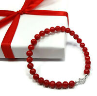 Bracelet Natural Red Coral Stone Beads, Silver Healing Power Bracelet, 7.5 Inch