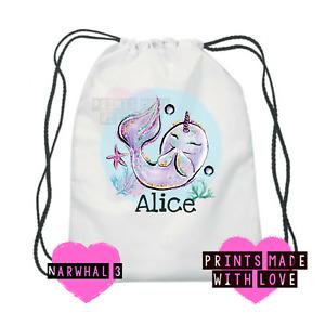 Narwhal swim bag , swimming , personalised PE school bag