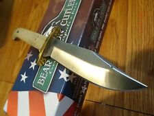 """BEAR & SON CUTLERY BABY BOWIE WHITE BONE 6 1/4"""" OVERALL LEATHER SHEATH MADE USA"""