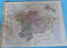 Old Map 1900 France Département l'Aude Carcassonne Limoux Narbonne Tuchan