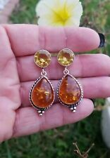 Citrine Dangle Earrings, Sterling silver New listing