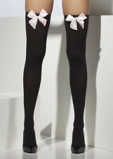 Ladies Gothic Black Stockings with Pink Bows