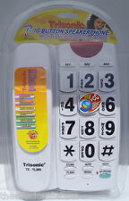 White Large Number Big Button HOME TELEPHONE Corded Wall Desk 10 Memory Dialing