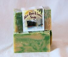Hand Crafted Bay Rum & Lime  Soap With Goats Milk and Honey, One Large Body Bar