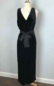 J.Crew Women's $168 V-Neck Wide Leg Velvet Jumpsuit Black Size 10 NWT AF422