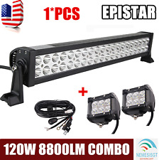 22''Inch 120W LED Light Bar Offroad Work Lamp Combo+2x 4inch 18W Pods+Wiring Kit